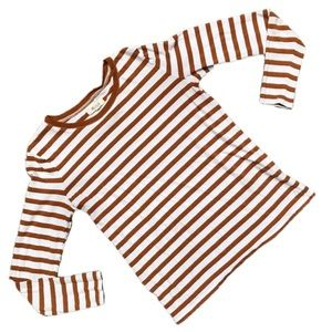 MADEWELL Brown White Striped Crew Long Sleeve Top